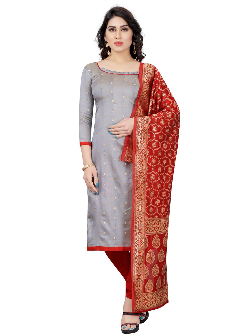 Grey Color Churidar Designer Suit