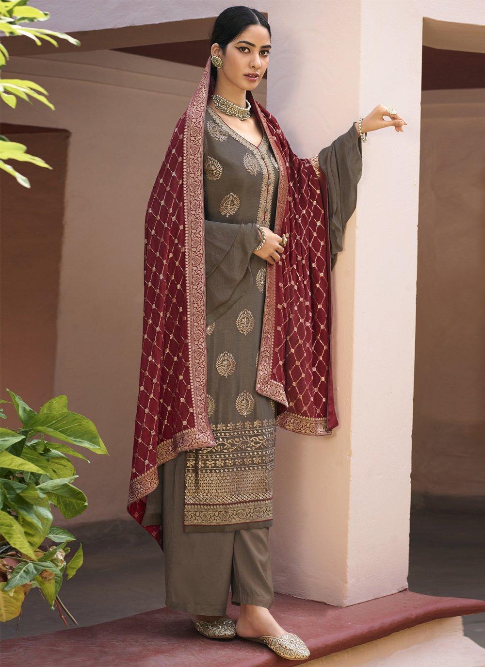 Grey Color Designer Palazzo Salwar Suit