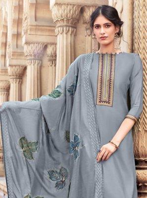 Grey Color Designer Palazzo Suit