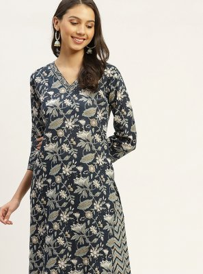 Grey Color Party Wear Kurti