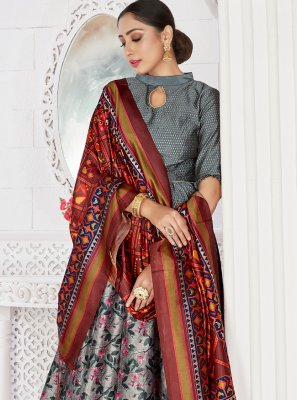 Grey Color Readymade Lehenga Choli