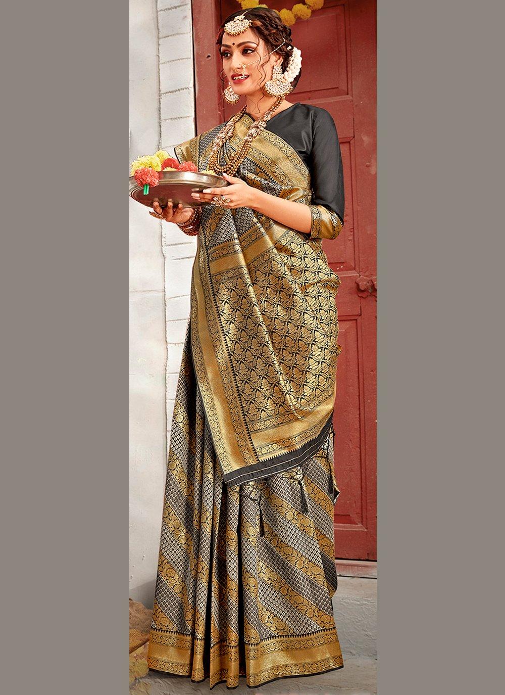 Grey Color Traditional Designer Saree