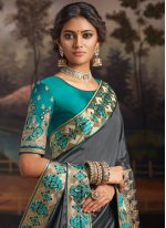 Grey Color Traditional Designer Saree