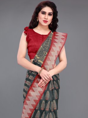 Grey Cotton Casual Printed Saree