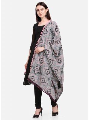 Grey Cotton Designer Dupatta