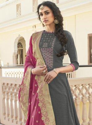 Grey Cotton Designer Pakistani Salwar Suit