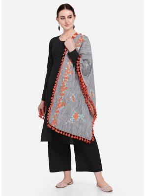 Grey Cotton Embroidered Designer Dupatta