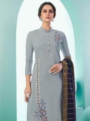 Grey Cotton Embroidered Trendy Salwar Kameez