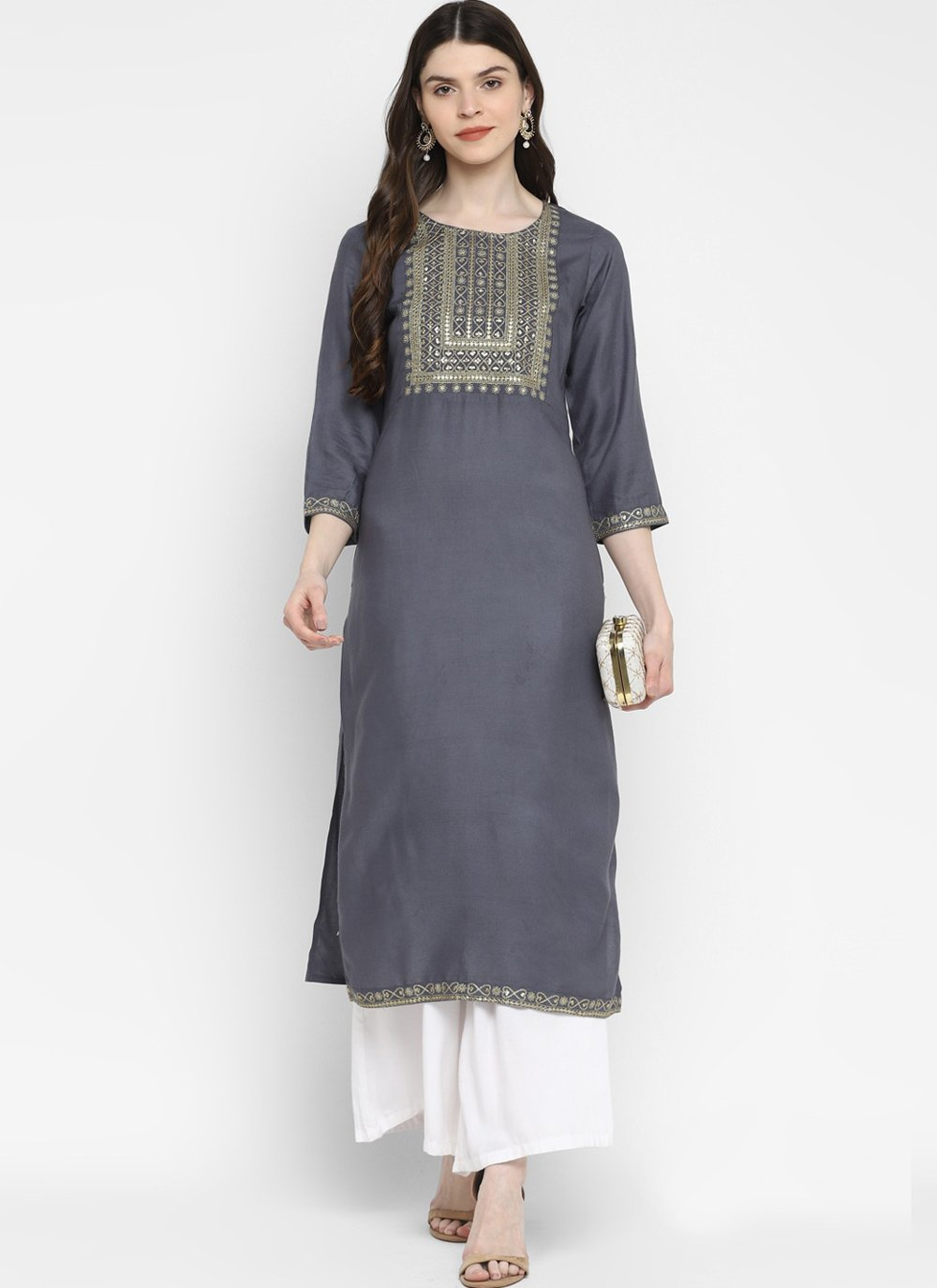 Grey Cotton Festival Party Wear Kurti