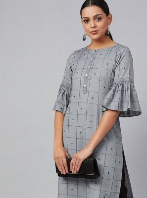 Grey Cotton Party Wear Kurti
