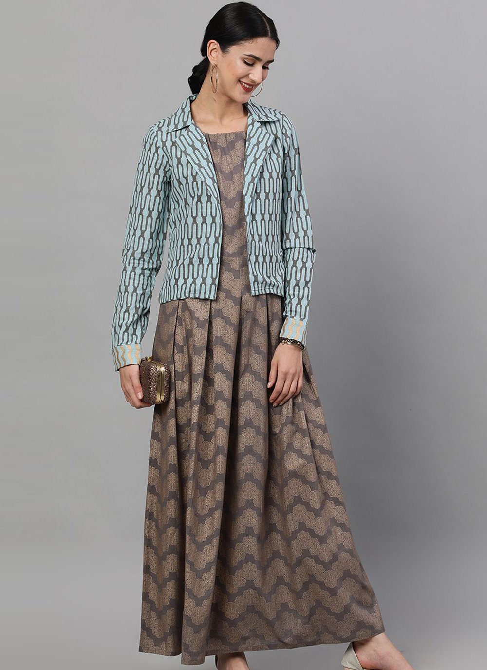 Grey Cotton Readymade Gown