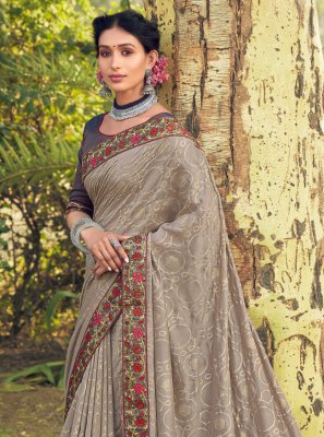 Grey Cotton Silk Classic Designer Saree