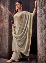 Grey Cotton Silk Designer Palazzo Salwar Kameez