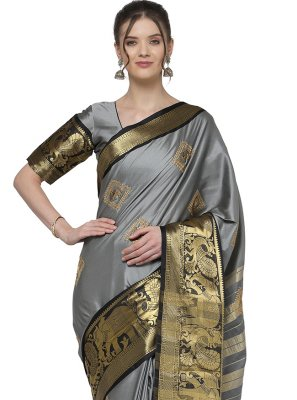 Grey Cotton Silk Trendy Saree