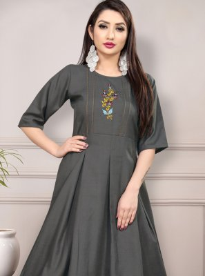 Grey Cotton Thread Work Casual Kurti