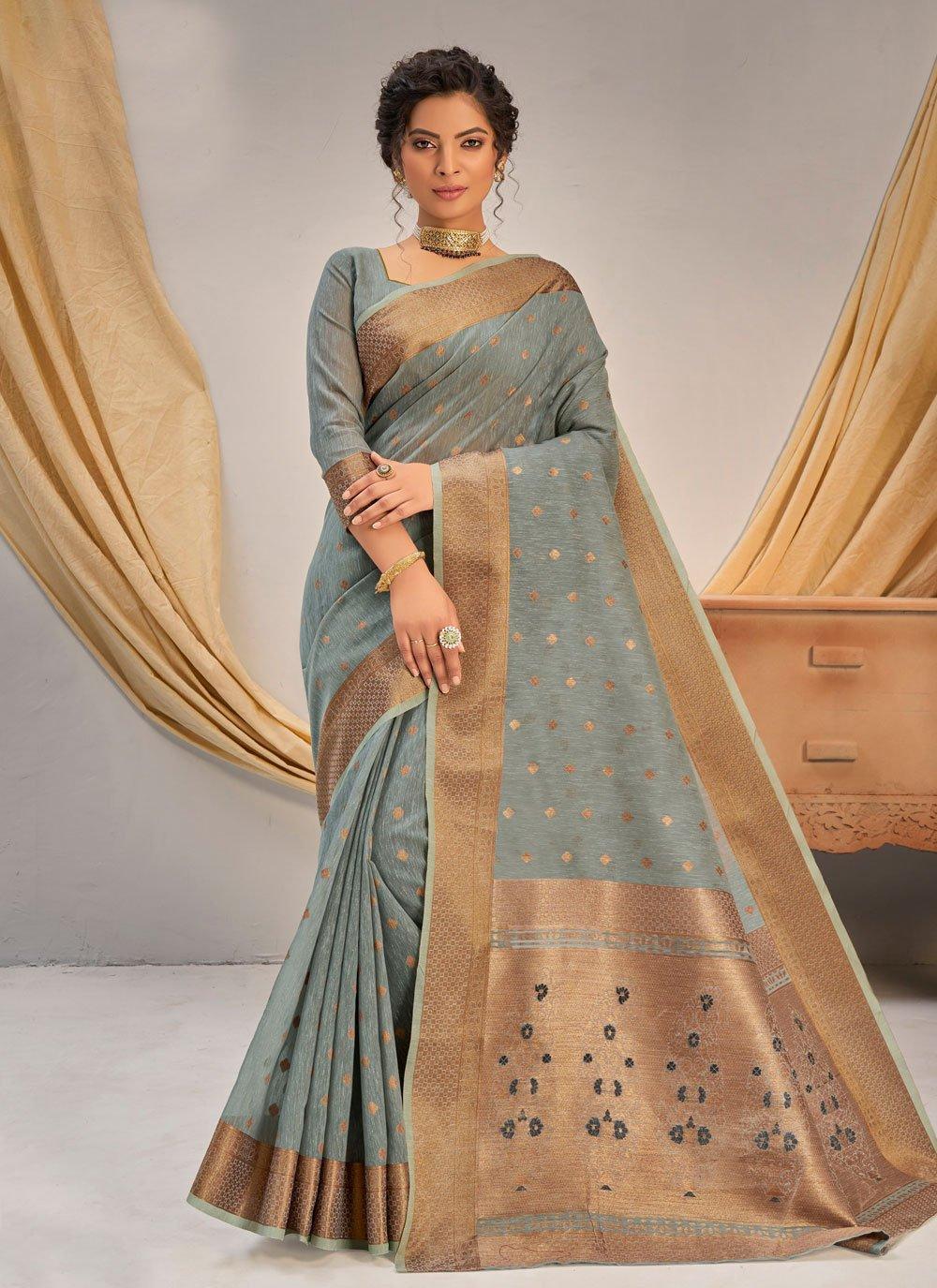 Grey Cotton Traditional Saree