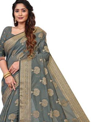 Grey Cotton Trendy Saree