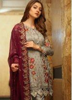Grey Designer Pakistani Salwar Suit