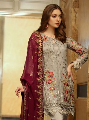 Grey Designer Pakistani Salwar Suit