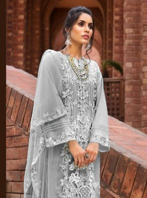 Grey Designer Pakistani Suit