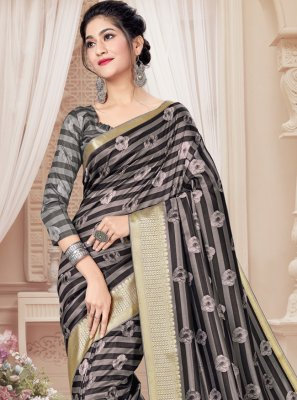 Grey Digital Print Printed Saree