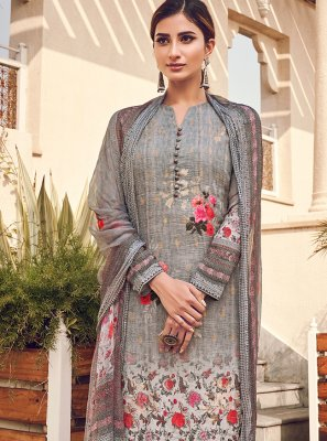 Grey Digital Print Silk Designer Pakistani Suit