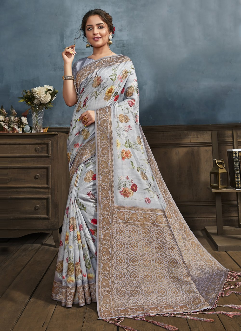 Grey Digital Print Traditional Designer Saree