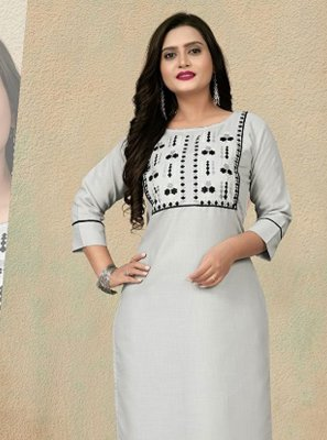 Grey Embroidered Cotton Party Wear Kurti