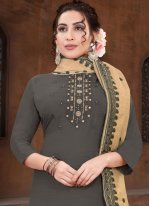Grey Embroidered Designer Straight Suit