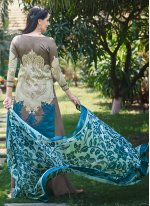 Grey Embroidered Fancy Fabric Designer Palazzo Suit