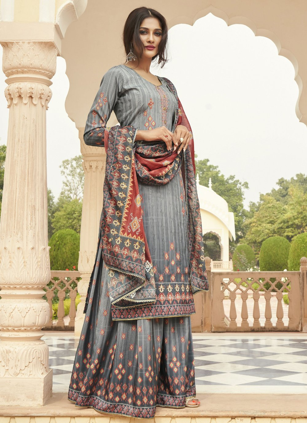 Grey Embroidered Faux Crepe Designer Palazzo Suit
