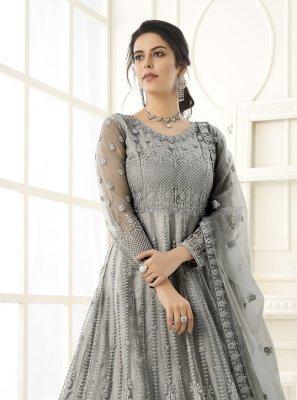 Grey Embroidered Festival Floor Length Anarkali Suit