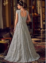 Grey Embroidered Net Floor Length Anarkali Suit