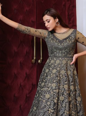 Grey Embroidered Net Floor Length Anarkali Suit