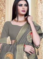 Grey Embroidered Silk Contemporary Saree