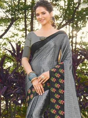 Grey Embroidered Silk Designer Traditional Saree
