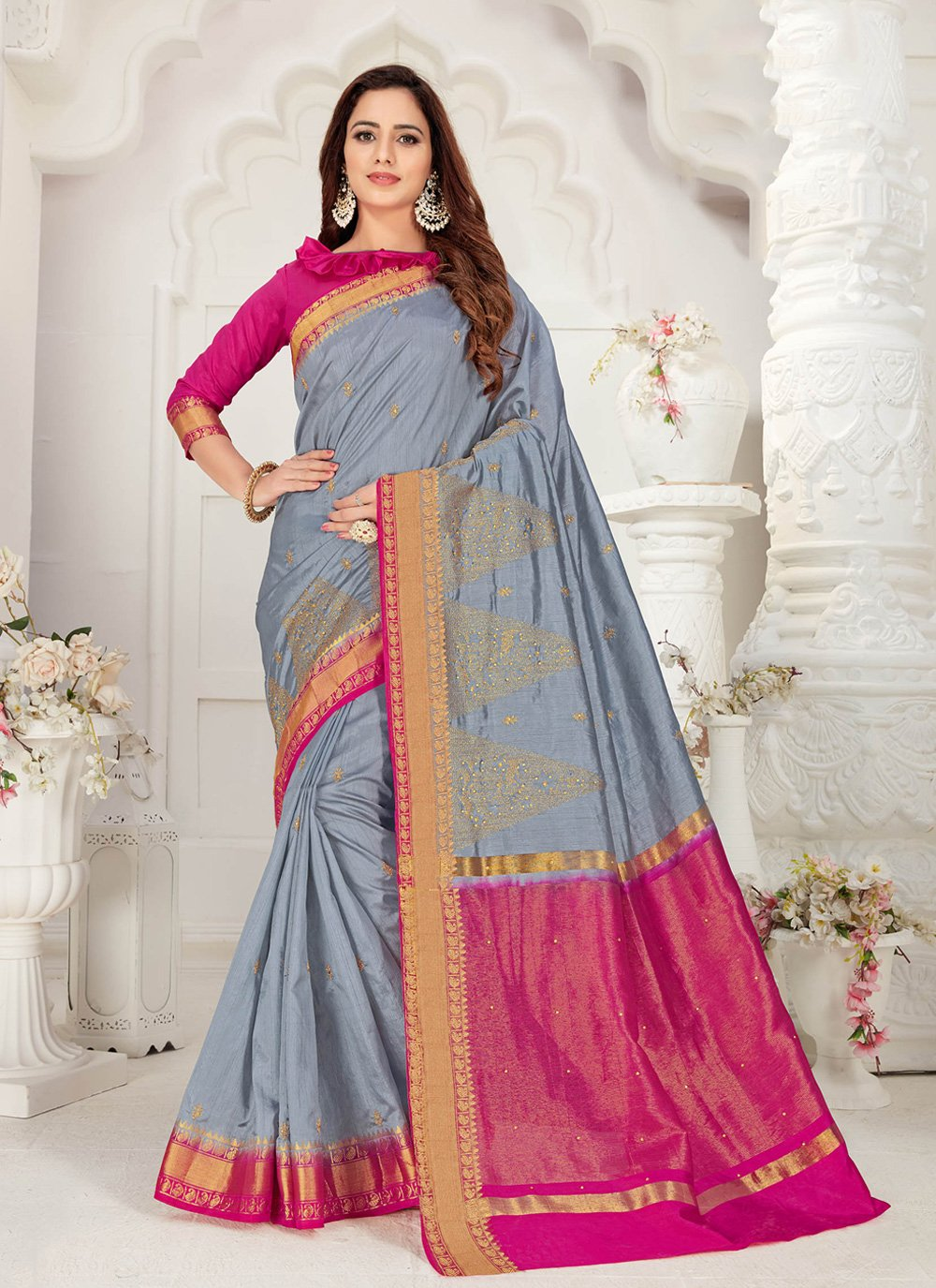 Grey Embroidered Silk Traditional Saree