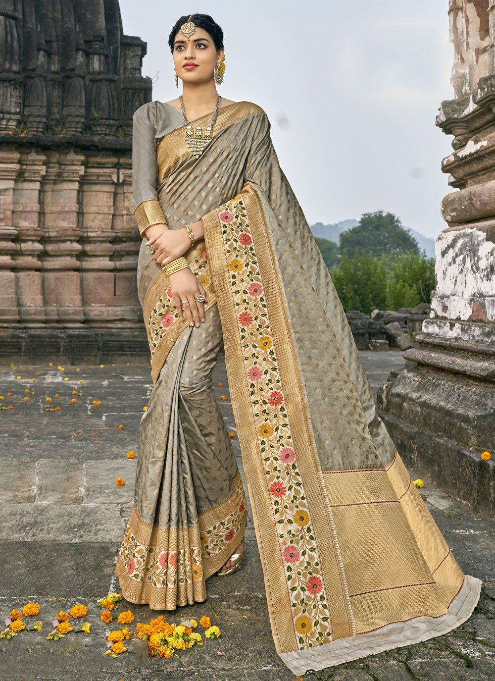 Grey Fancy Banarasi Silk Traditional Designer Saree