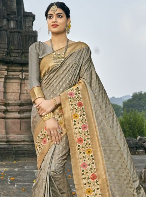 Grey Fancy Banarasi Silk Traditional Designer Saree