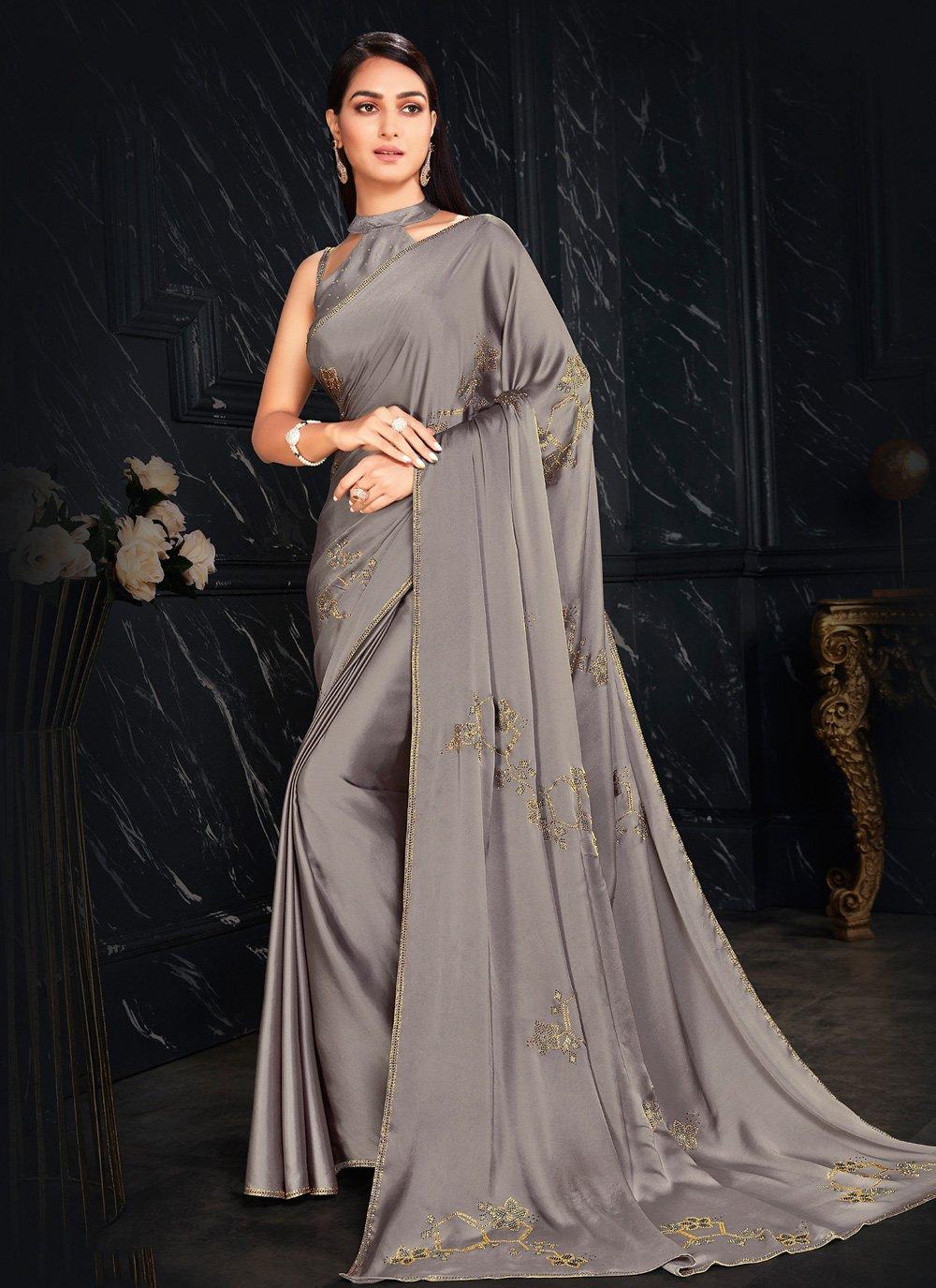 Grey Fancy Fabric Fancy Classic Designer Saree