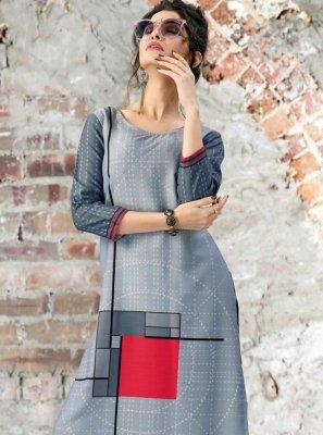 Grey Fancy Fabric Festival Party Wear Kurti