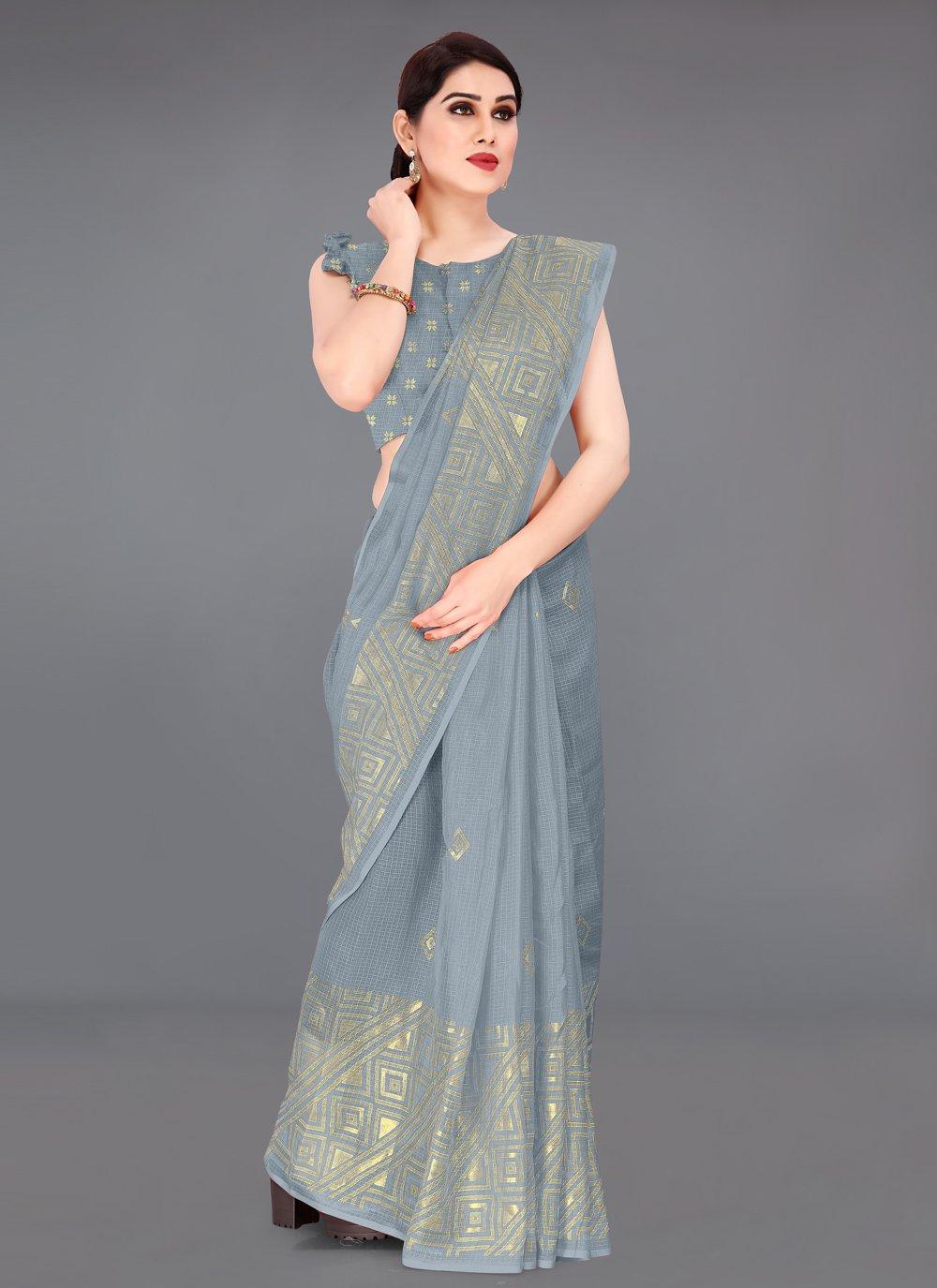 Grey Fancy Fabric Printed Saree