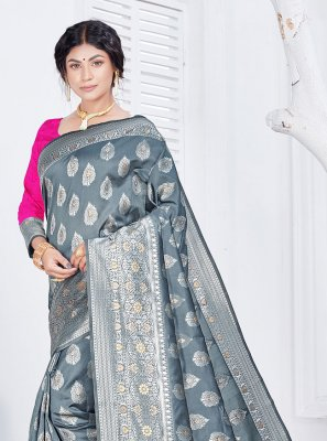 Grey Fancy Festival Classic Saree