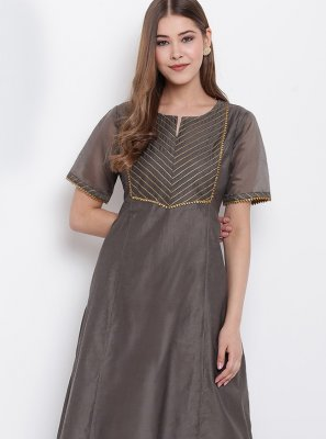 Grey Fancy Party Wear Kurti