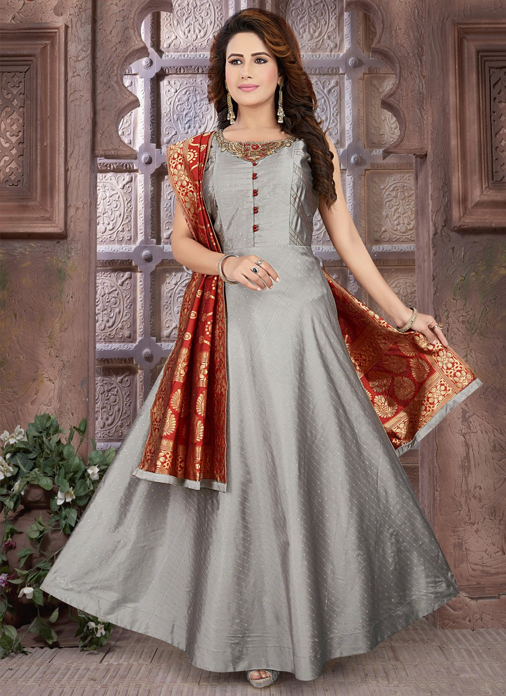 Grey Fancy Sangeet Floor Length Anarkali Suit
