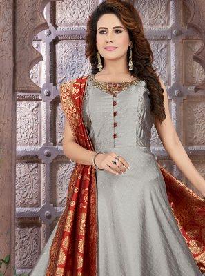 Grey Fancy Sangeet Floor Length Anarkali Suit