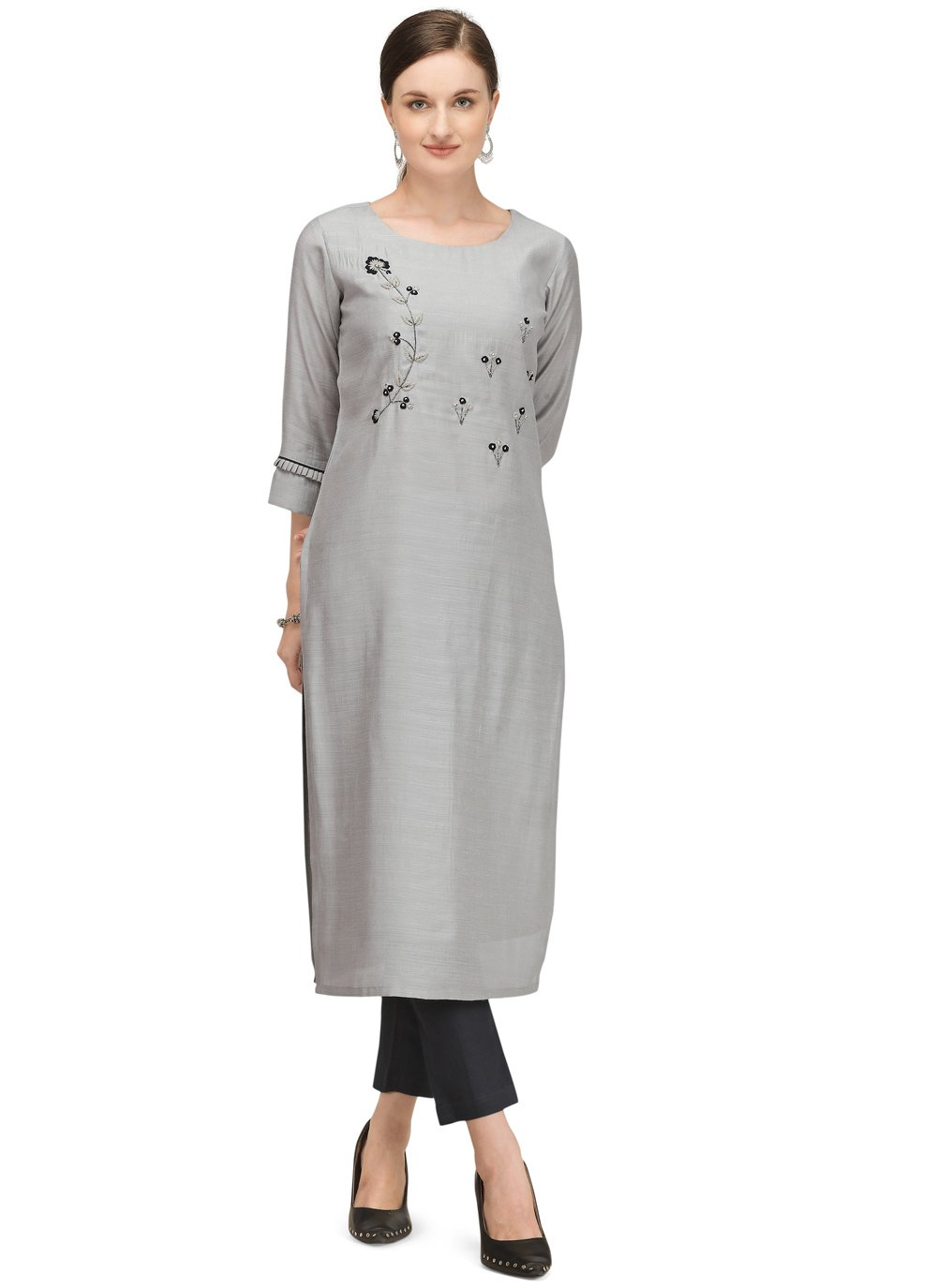 Grey Fancy Viscose Designer Kurti