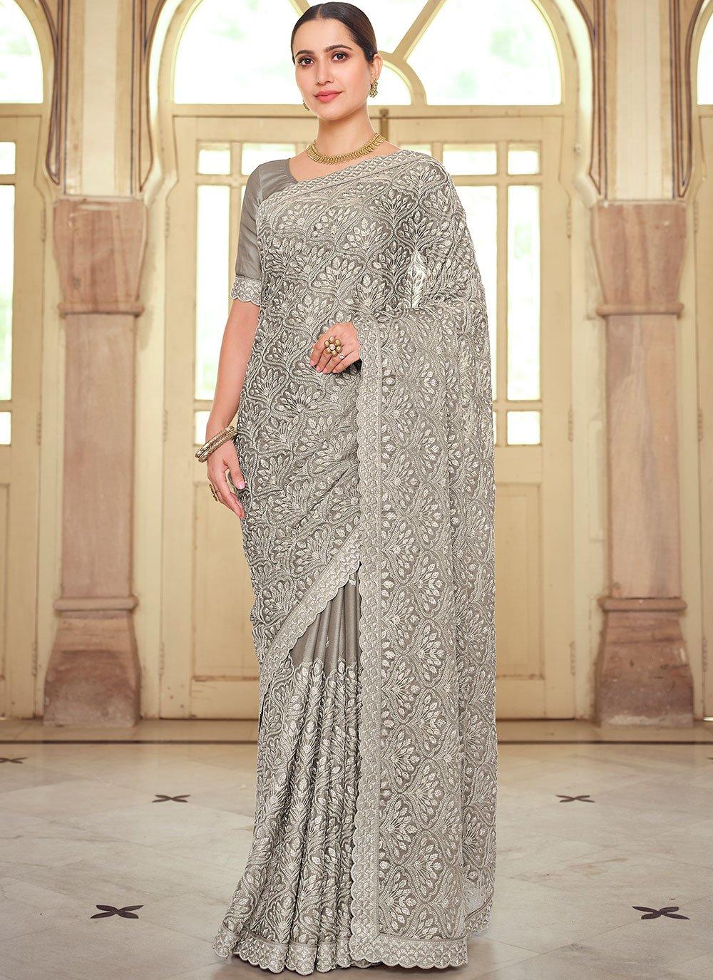 Grey Faux Chiffon Wedding Classic Saree
