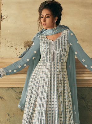 Grey Faux Georgette Floor Length Anarkali Suit