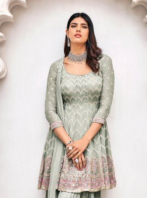 Grey Faux Georgette Readymade Suit